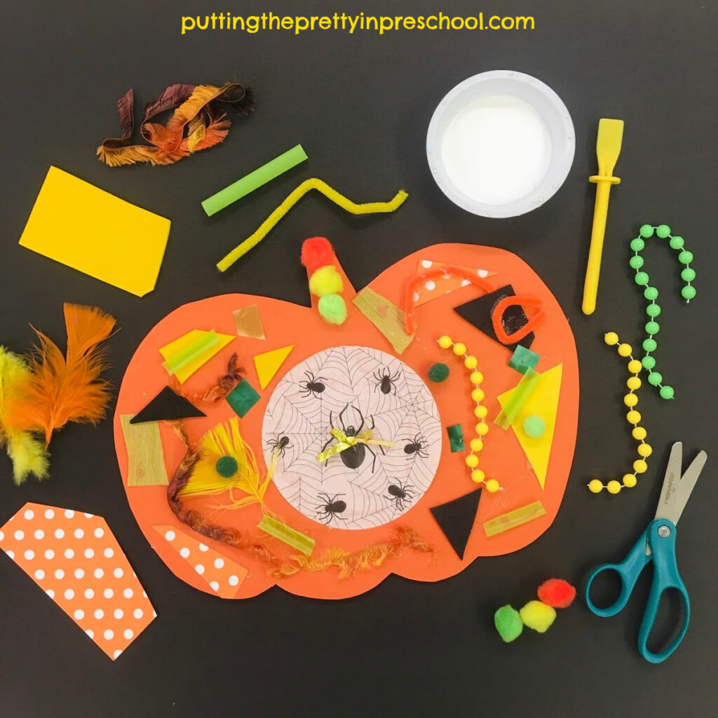 Craft supplies to cut and glue for a pumpkin collage craft.