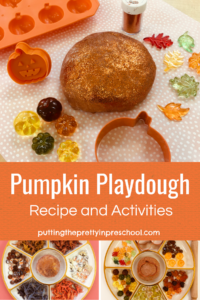 Pumpkin playdough recipe and activities. Pumpkin, squirrel, and dinosaur themed playdough activities.