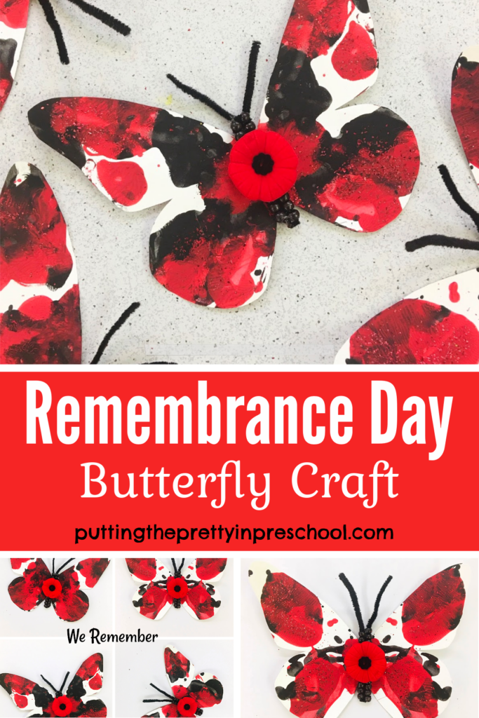 Remembrance Day butterfly craft. Squish painted butterfly accented with beadwork, glitter, and a poppy.