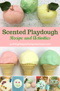 Scented playdough activities with an easy to make, two-ingredient recipe. Three dough variations and six sensory play invitations are featured.