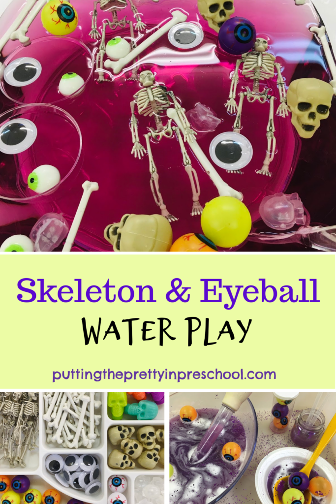Oh, so fun skeleton and eyeball water play activities with eyeballs, wiggly eyes, skulls, bones, and skeletons. .