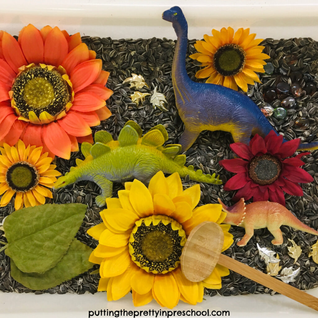 Easy to put together sunflower seed sensory bin with sunflowers and dinosaurs.