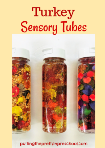 """Spot The Turkey"" sensory tubes. Split pea and lentil base, glitter water base, and craft material base sensory tube ideas."