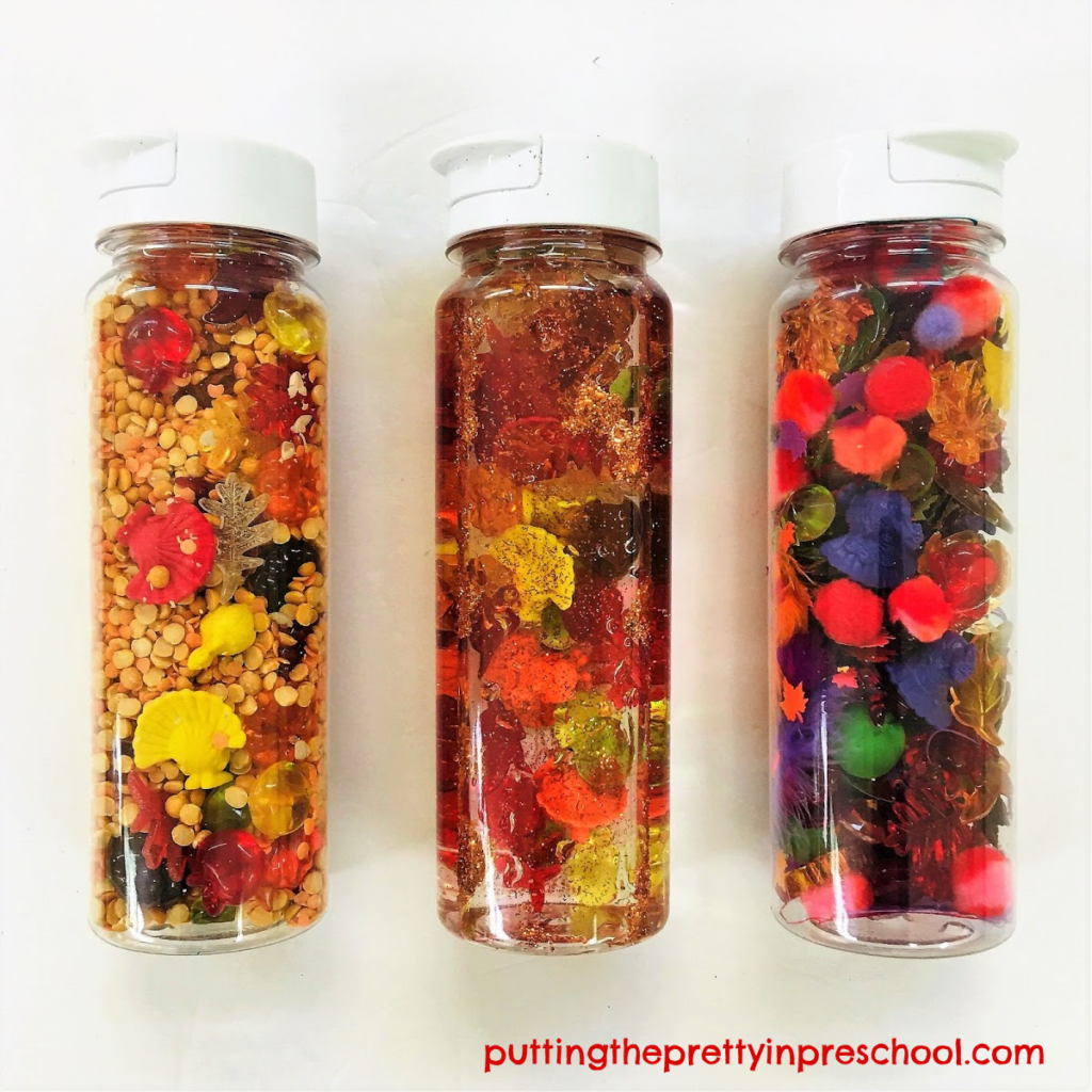 "Three ""Spot The Turkey"" sensory tubes. Split pea and lentil base, glitter water base, and craft material base sensory tube ideas."