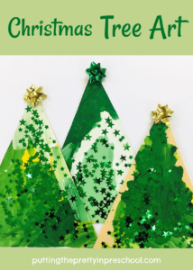Dazzling, easy to do Christmas tree art painting activity. An all-ages art project.
