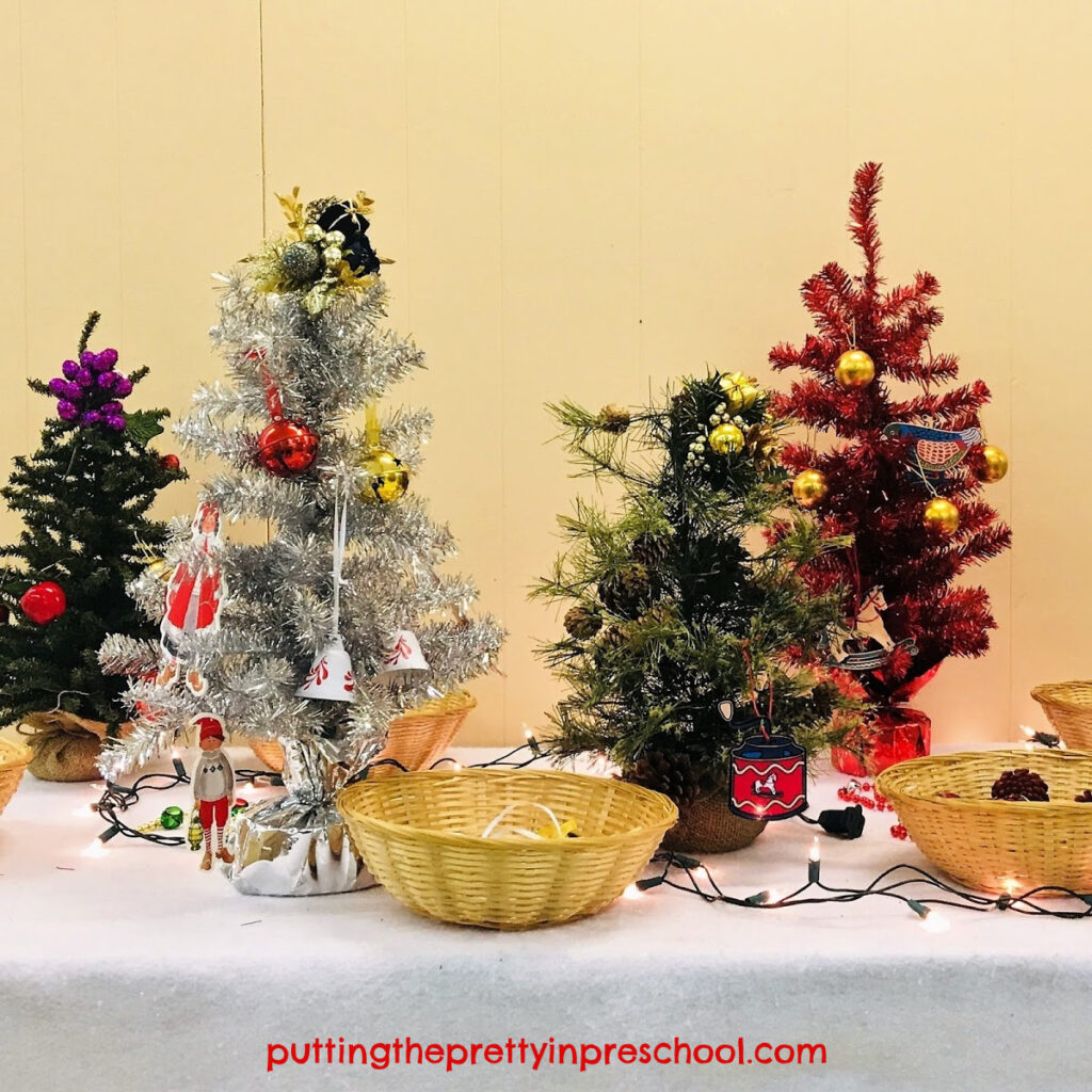 Decorated Christmas trees at an early learning center.