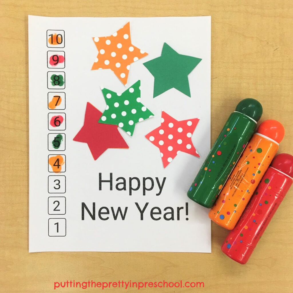 Dot marker New Year's countdown activity.