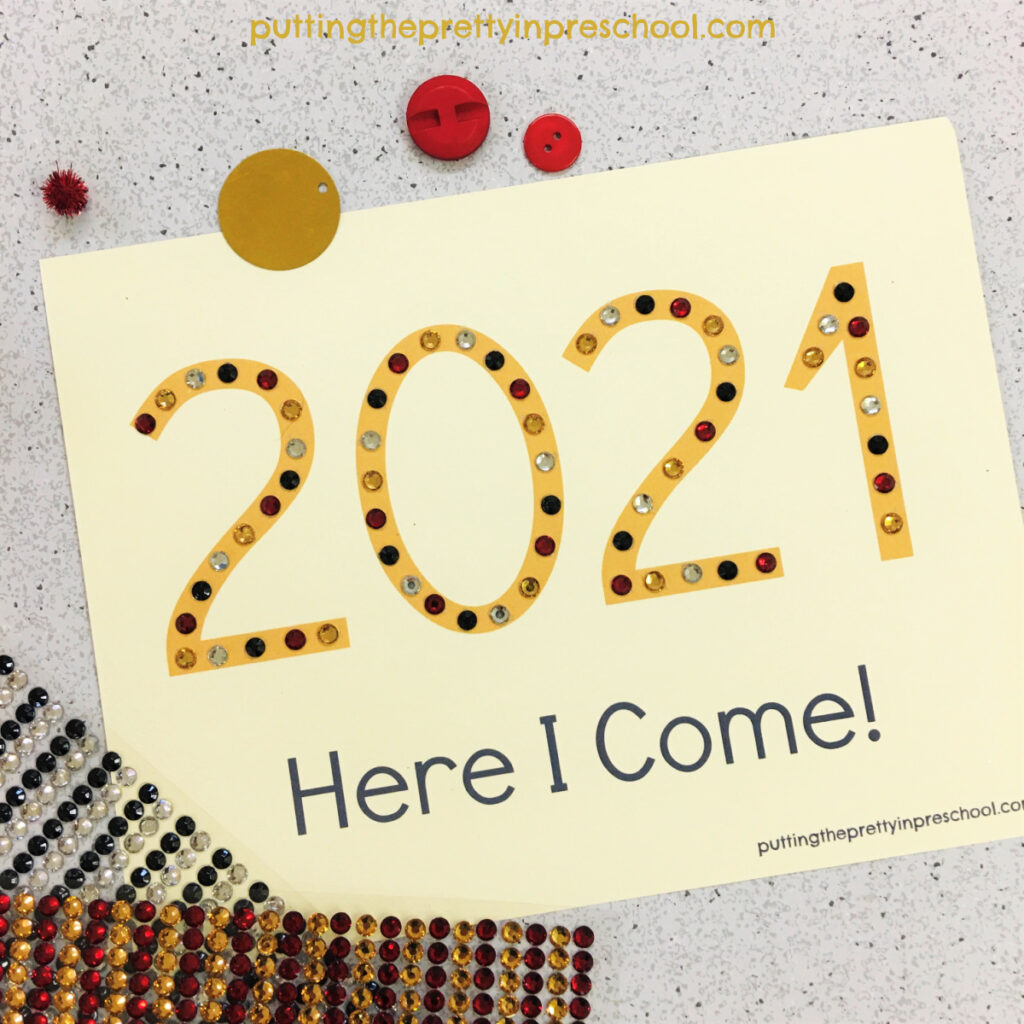 Adhesive gem decorated 2021 keepsake craft supplies.