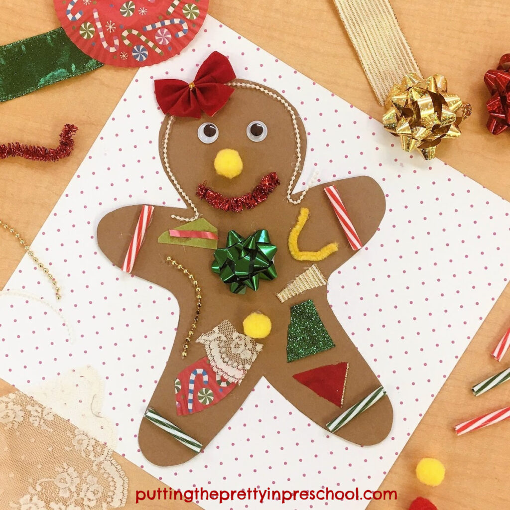 Paper gingerbread man craft. Children practice scissor skills while decorating the gingerbread man with Christmas-themed craft supplies.