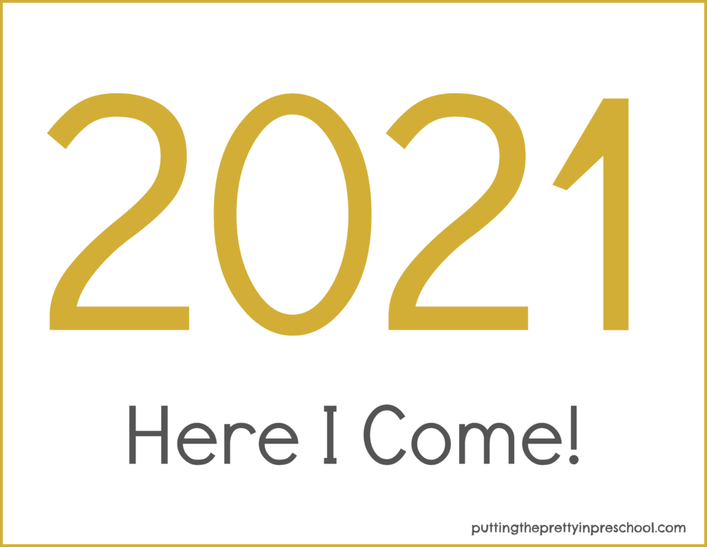 Gold numbered printable for Happy New Year 2021 keepsake crafts.