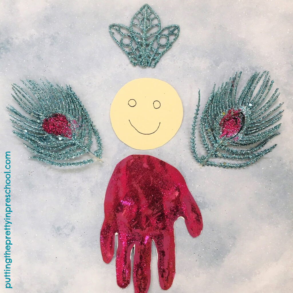 Parts to glue together to make a handprint angel.