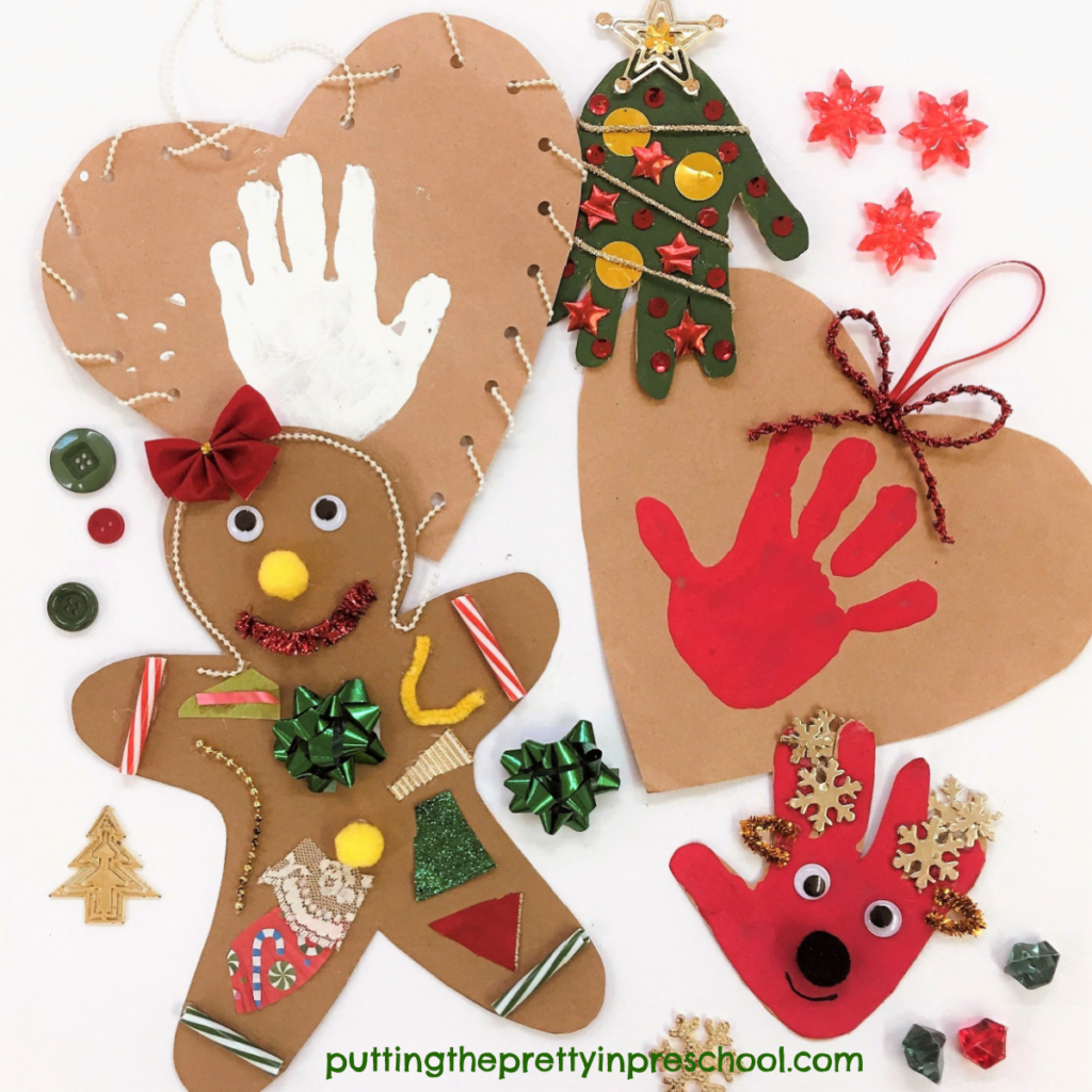 Handprint Christmas craft projects using paper bags as a base.