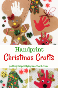 Heart-tugging handprint Christmas crafts using paper bags as a base. Featured are heart, Christmas tree, reindeer, and fish ornament crafts.