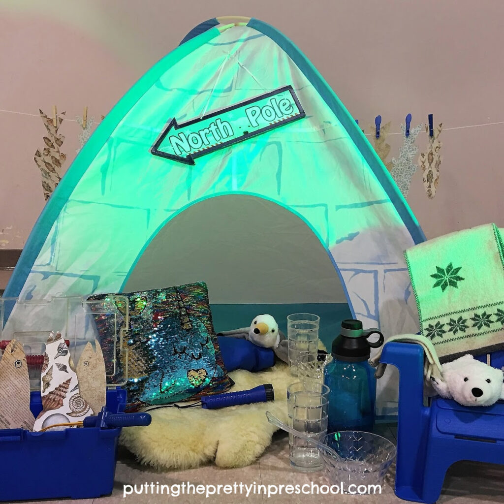 Igloo pretend play center with polar animals and glam accessories.