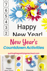 Art and math New Year's countdown activities. Printmaking with fringed toilet rolls, collage art, and number matching opportunities.