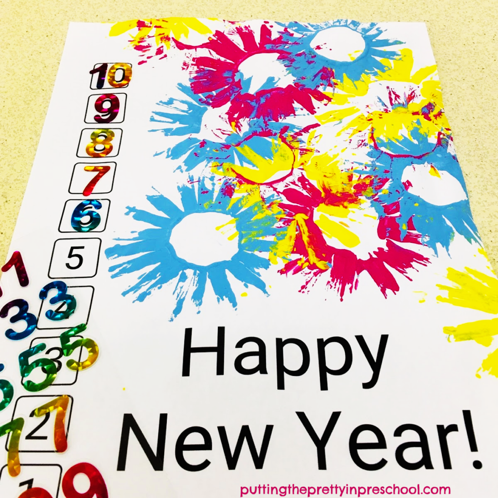 New Year's countdown printmaking and number matching printable.