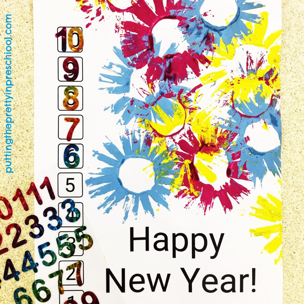 Number matching on a New Year's countdown printable.