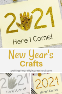 Glitzy, easy to make 2021 New Year's keepsake crafts that enhance eye-hand coordination, fine motor control, patterning, and number recognition.