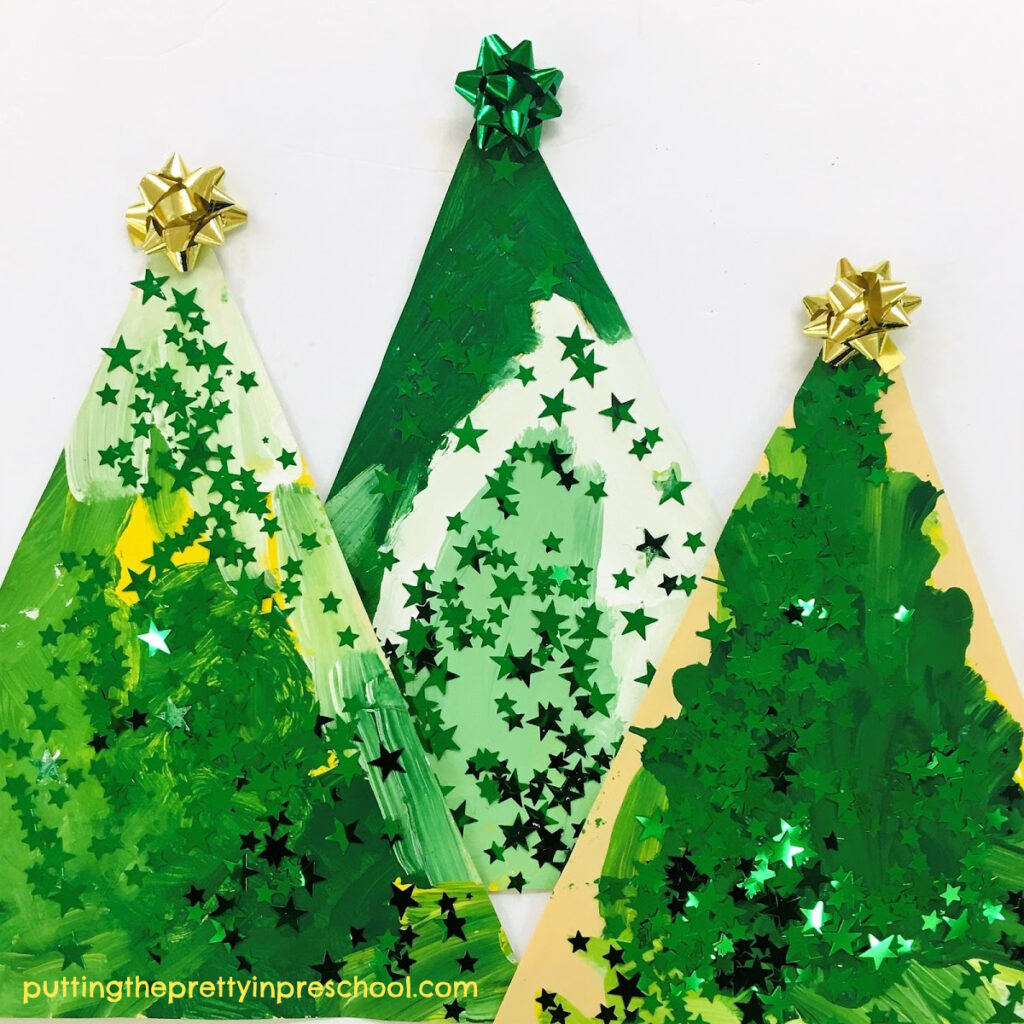 Dazzling, easy to set up Christmas tree art project.