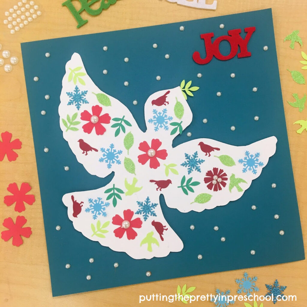 Papercraft dove Christmas keepsake picture.