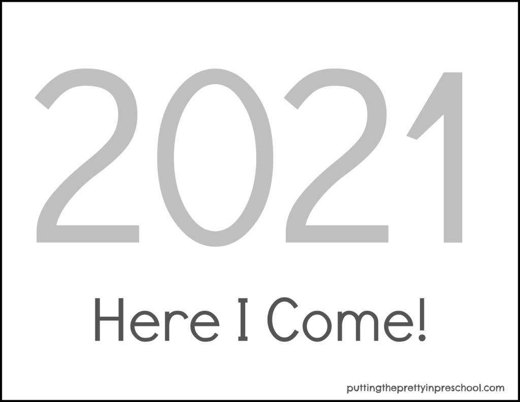 Silver numbered printable for Happy New Year 2021 keepsake crafts.