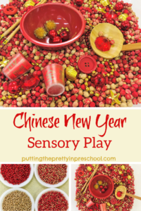 Chinese New Year sensory tub with red and gold accessories in a dyed chickpea base.