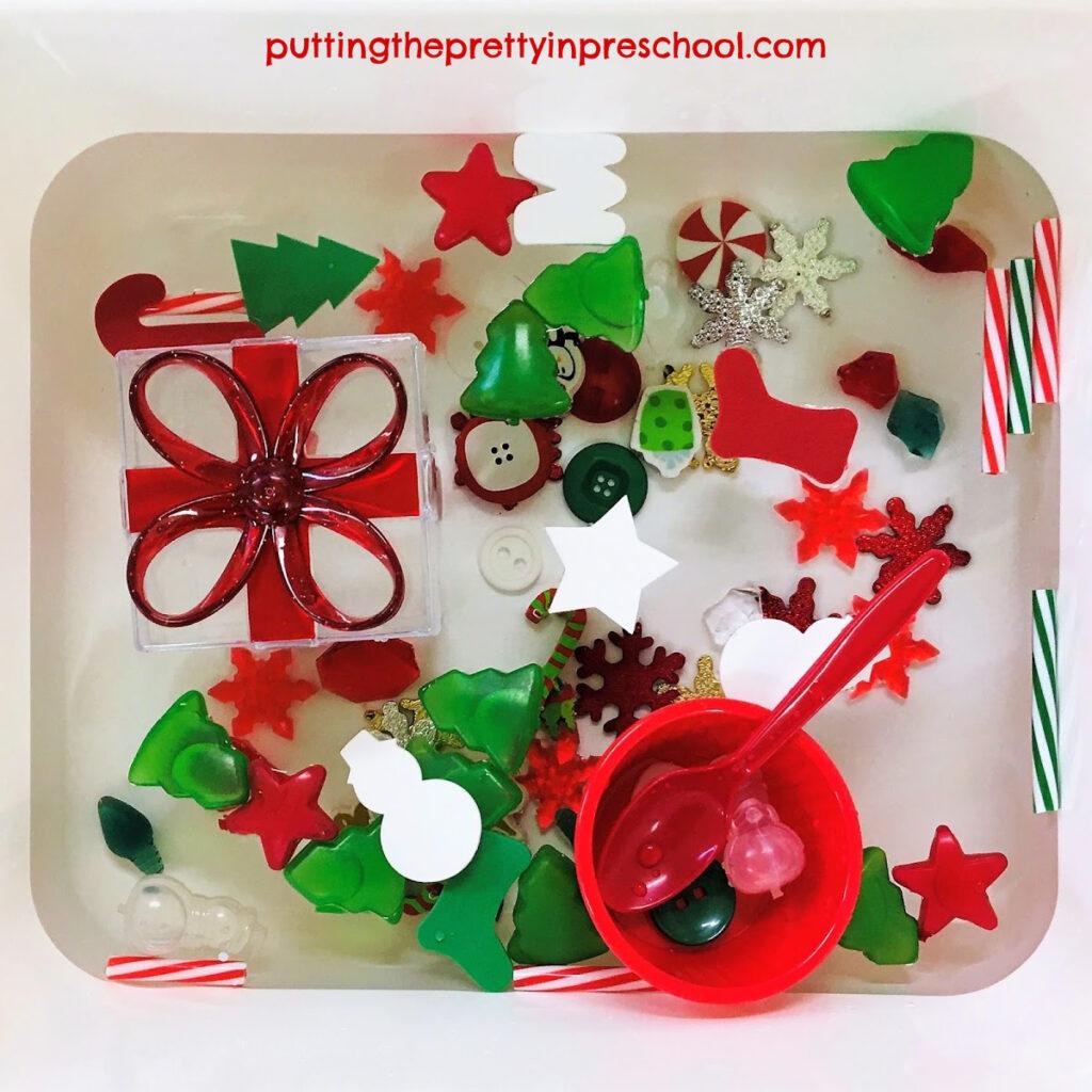Christmas-themed water sensory tub.