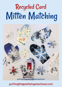 Mitten and snowflake matching math activity using recycled cards.