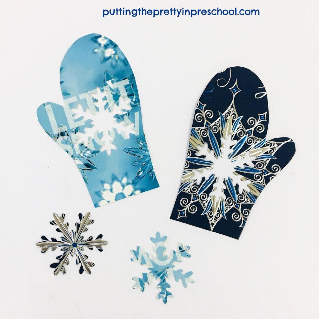 Snowflake and mitten matching challenge.