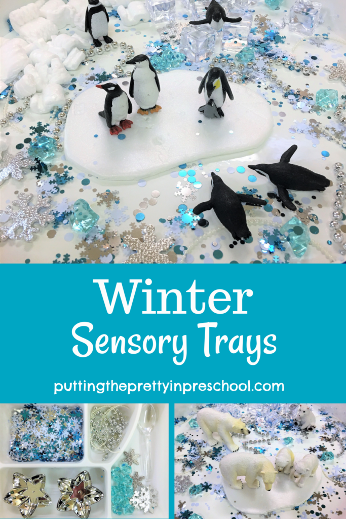 Snowflake confetti rules in these three winter sensory trays featuring polar bears, penguins, and shiny accessories.