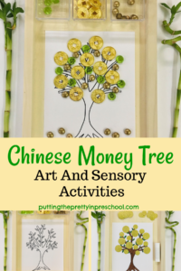 Easy to do, creative Chinese money tree activities that give early learners a chance to use shiny gold coins and loose parts in art and sensory play while learning about a world-renowned celebration.