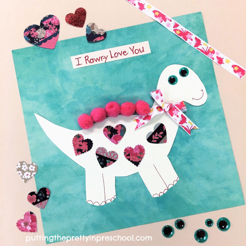 Oh, so cute dinosaur Valentine's Day craft.