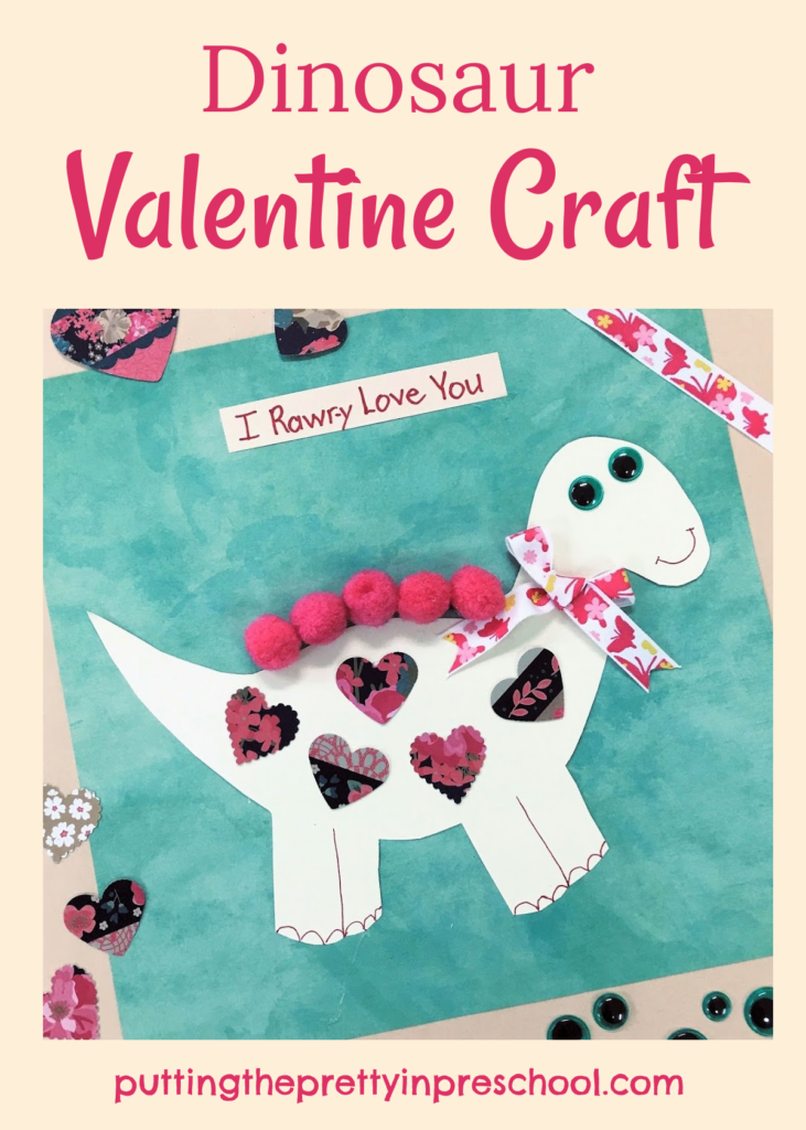 "A cute and ""rawr-y"" dinosaur valentine craft with ribbon, hearts, and pompoms. An all-ages activity."