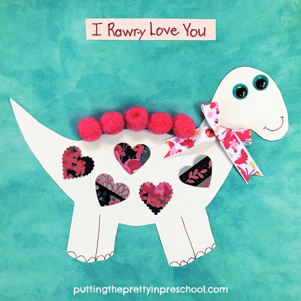 Cute dinosaur valentine craft.