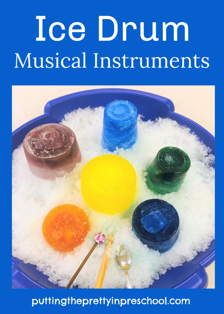 Easy to set up ice drum musical instruments that can be played indoors or outside any time of the year.