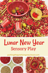 Lunar New Year sensory tub with red and gold accessories in a dyed chickpea base.