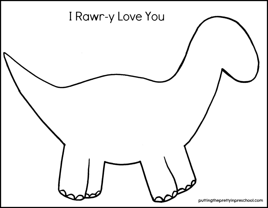 Rawr-y dinosaur template to use for a valentine craft.
