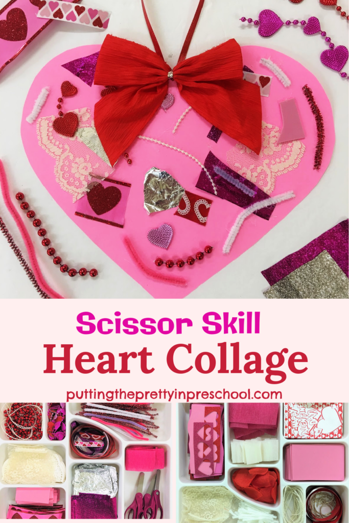 Scissor skill heart collage projects give early learners a chance to strengthen finger muscles and explore luxurious craft supplies.
