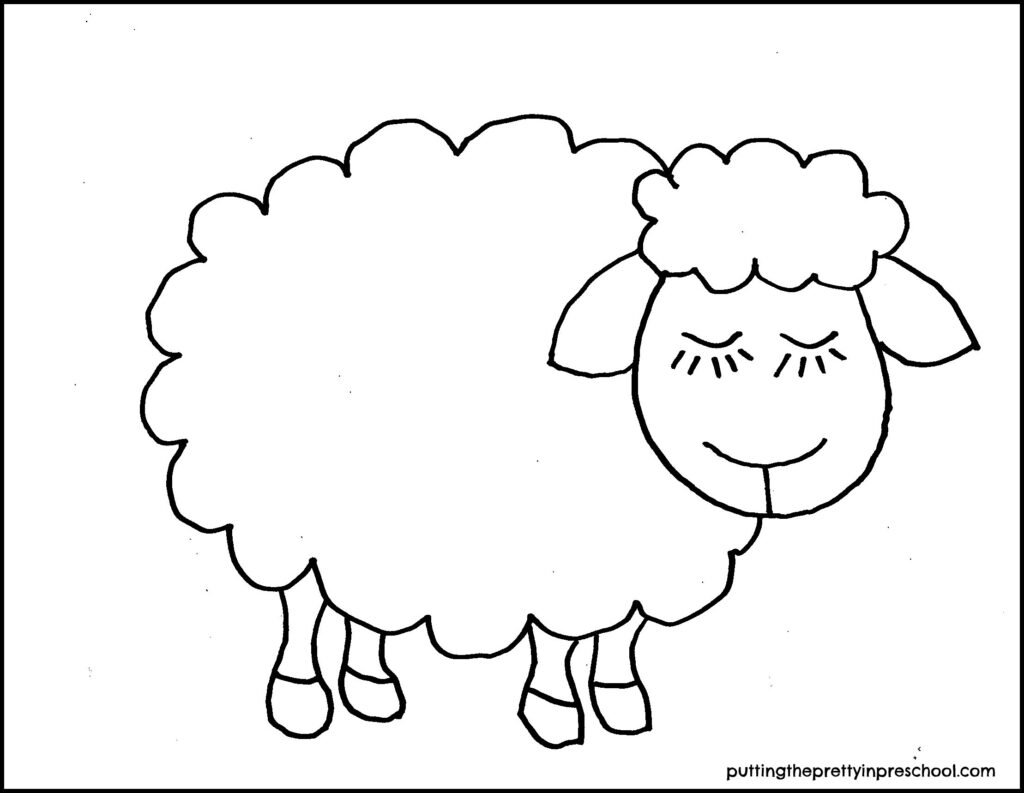 Cute sheep template for farm or holiday crafts.