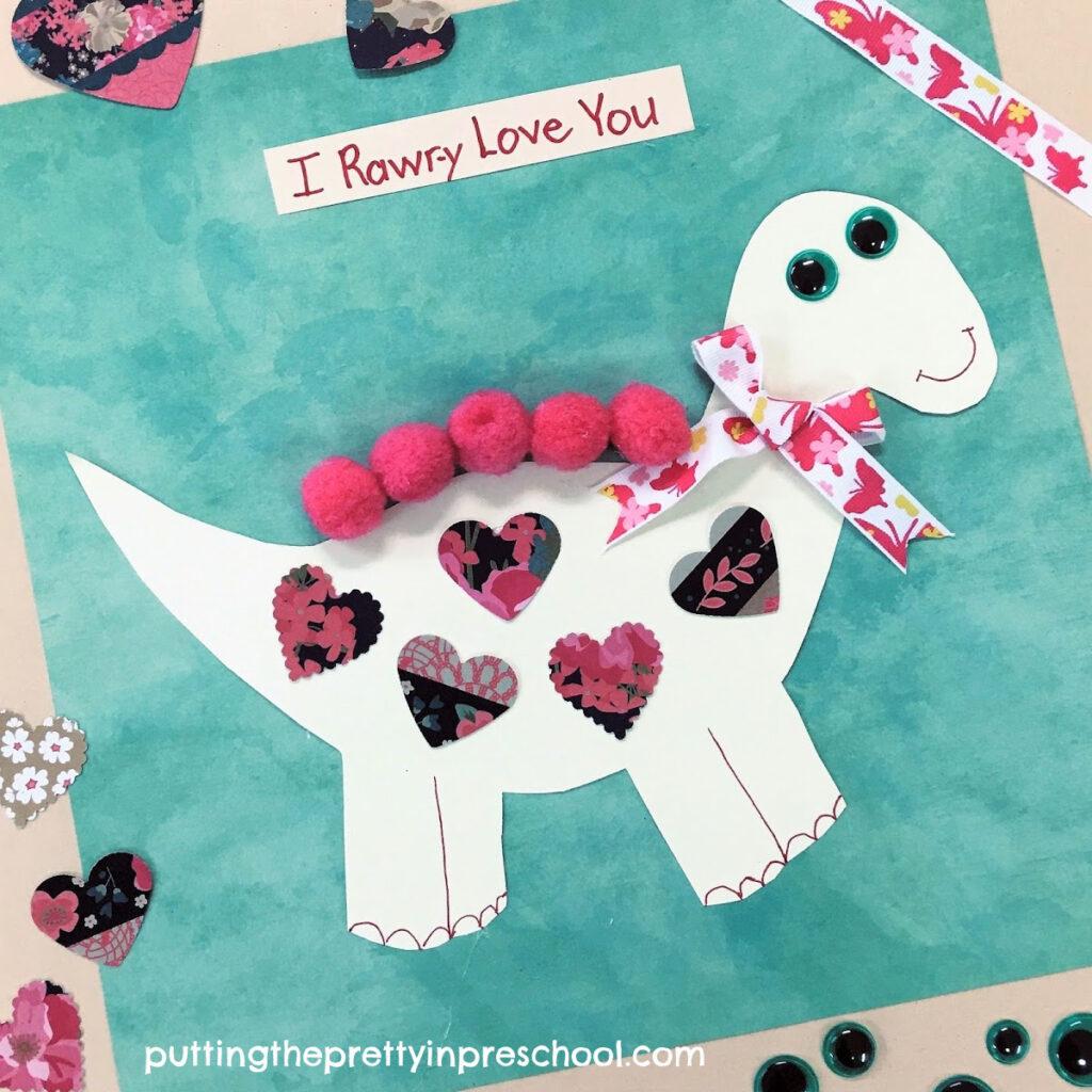 Valentine's Day oh, so cute dinosaur craft.