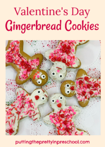 Candy hearts and red, pink, and white sprinkles adorn these Valentine's Day gingerbread cookies. An all-ages activity to do.