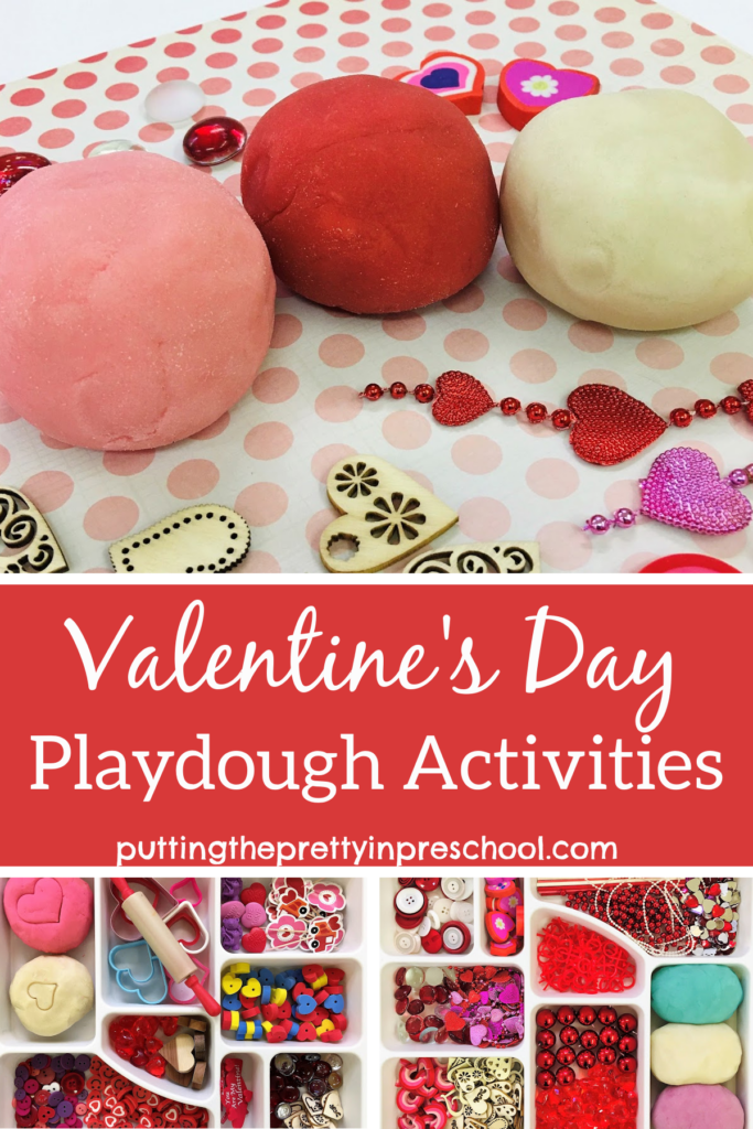Valentine's Day playdough recipes and loose parts trays. A basic recipe with color variations and a jello playdough recipe is featured.