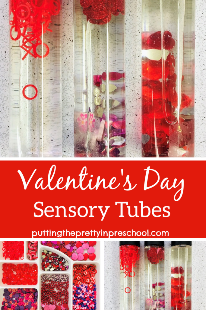 Valentine's Day sensory tubes with red, purple, and pink loose parts. These tubes are perfect for float and sink experimentation.
