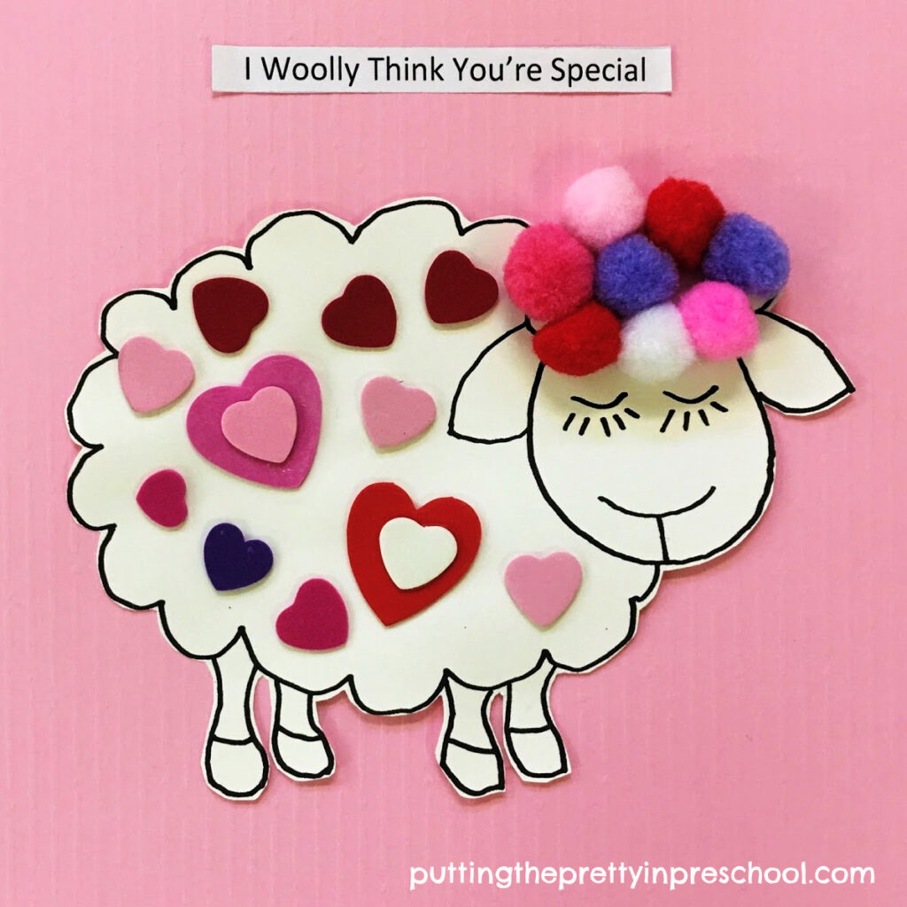 Soft and dreamy woolly sheep Valentine's Day craft.