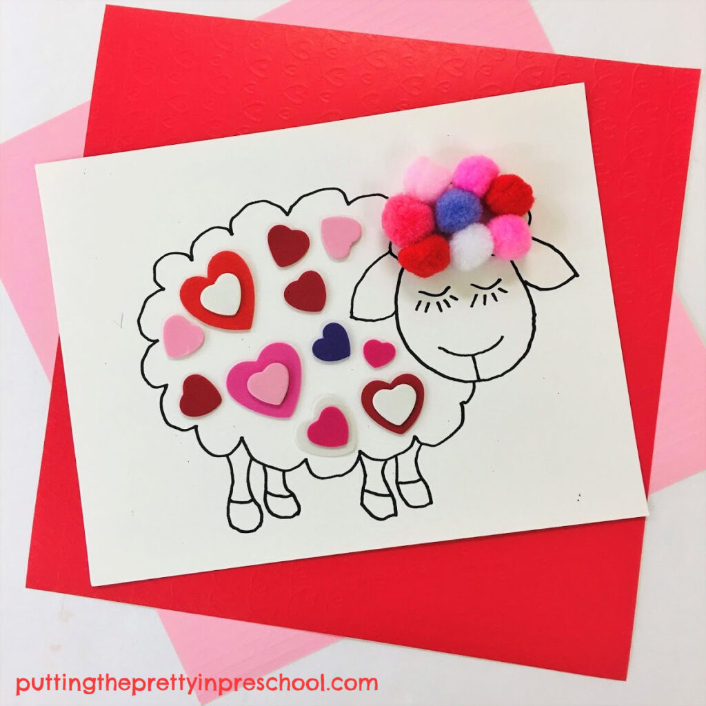 Cute woolly sheep craft for Valentine's Day. Free printable included.