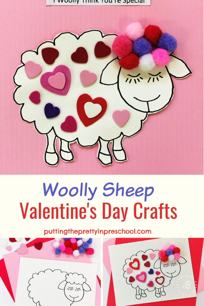 Soft and dreamy woolly sheep Valentine's Day crafts decked with hearts and pompoms. The crafts make heart-tugging keepsakes.