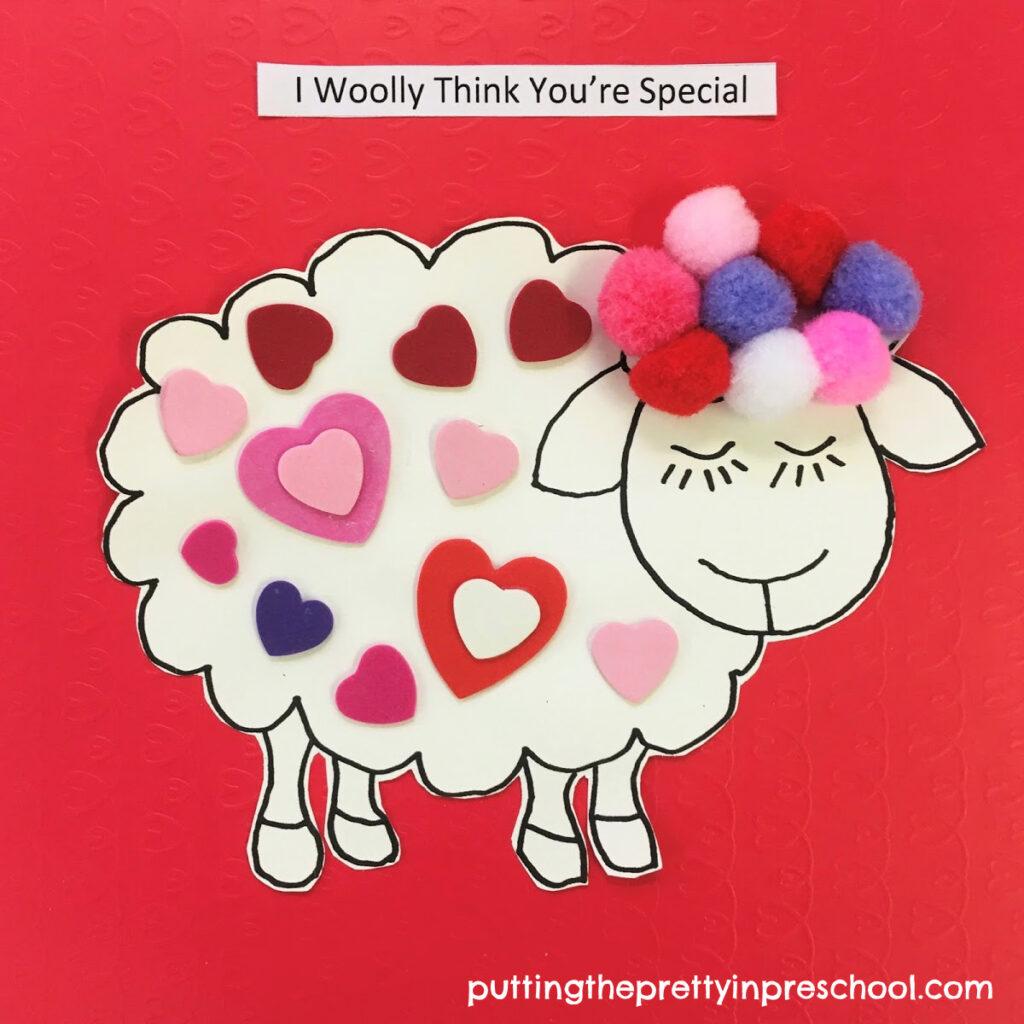 Eye-catching woolly sheep Valentine's Day craft.