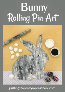 Oversized bunny rolling pin art to add variety to your program offerings. A wiggly eye and cotton ball tail are the finishing touches.