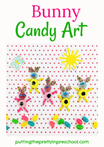 Fun bunny candy art activity with assorted sweets. A happy hoppy food collage project the whole family will enjoy participating in.