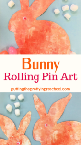 Oversized bunny rolling pin art to add variety to your program offerings. Wiggly eyes and cotton ball tails are the finishing touches.